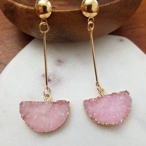 Jewelry - 💎💎 Druzy Drop Earrings - Pink